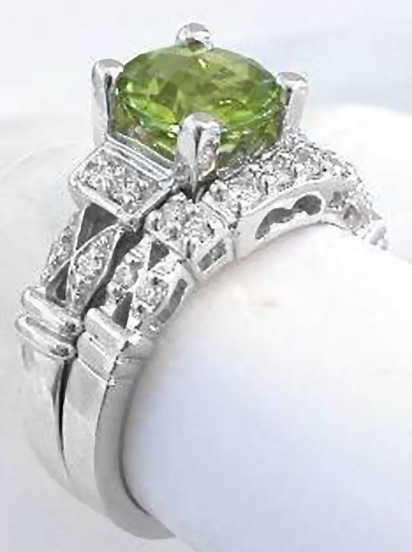 Peridot Engagement Ring in 14k white gold with matching band
