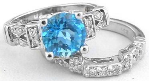 Ordinaire Round Swiss Blue Topaz Ring Engagement Set In 14k White Gold