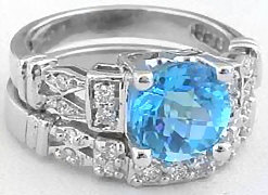 Swiss Blue Topaz and Diamond Engagement Ring and Band Set
