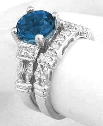 Round London Blue Topaz Diamond Engagement Ring in 14k white gold