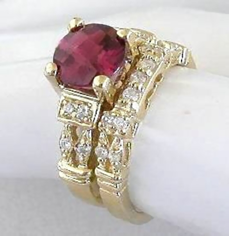rhodolite wedding rings