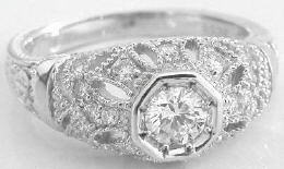 0.76 ctw Antique Styled Diamond Engagement Ring in 14k white gold