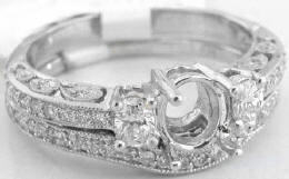 Vintage Inspired 0.64 ctw Diamond Mounting and Matching Wedding Band