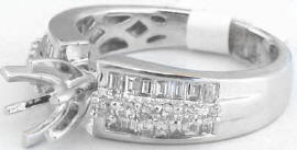 Round and Baguette Diamond Engagement Ring in 14k white gold
