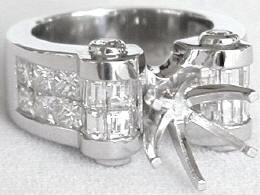 Invisibly set Princess and Baguette Diamond Semi Mount Ring