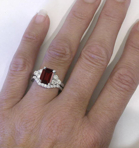 Emerald Cut Red Garnet and Diamond Engagement Ring in 14k gold GR8077