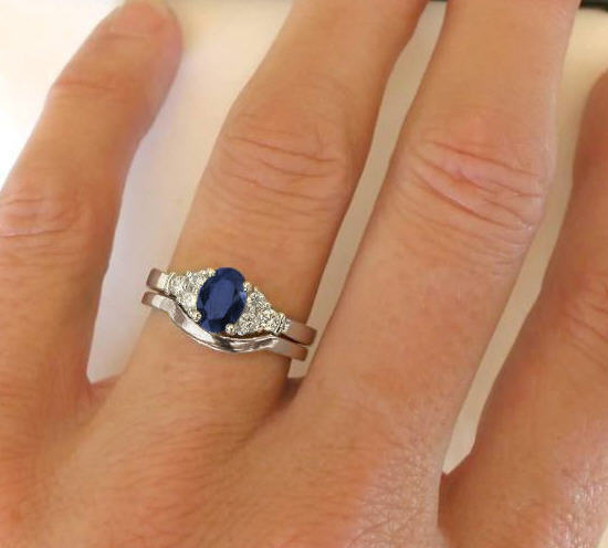 Sapphire Diamond Engagement Ring With Matching Contoured Wedding Band In 14k White Gold From ...