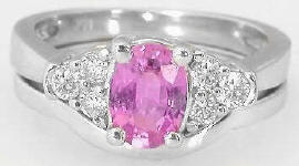 Pink Sapphire Engagement Ring with matching band