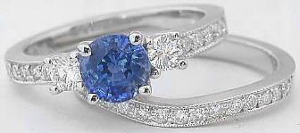 1.41 ctw Round Cut Blue Sapphire and Diamond Engagement Ring in 14k white gold