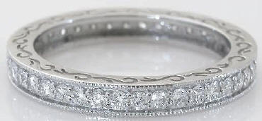 Vintage Styled 0.90 ctw Diamond Eternity Band with Engraving