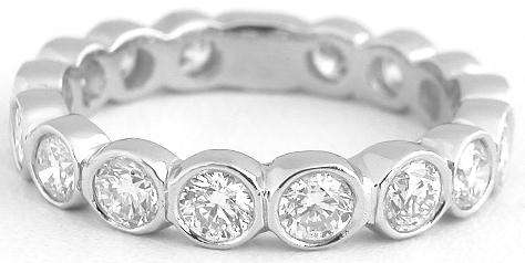 eternity in gold band bands petite bezel w stackable white set diamond