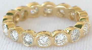 diamond gold band bezel set bands eternity yellow jl