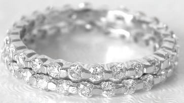 Bar Set Round Diamond Eternity Bands In Set Of Two In