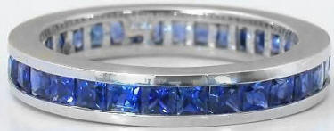 Channel Set 3 ctw Princess Cut Sapphire Eternity Band