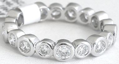 Bezel Set 1.20 ctw Diamond Eternity Band in Gold or Platinum