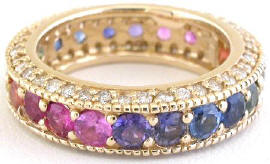 Diamond and Sapphire Eternity Band Ring in 14k Yellow Gold