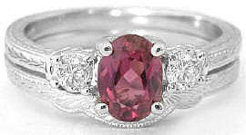 Vintage Rhodolite Engagement Ring and Wedding Band with Engraving