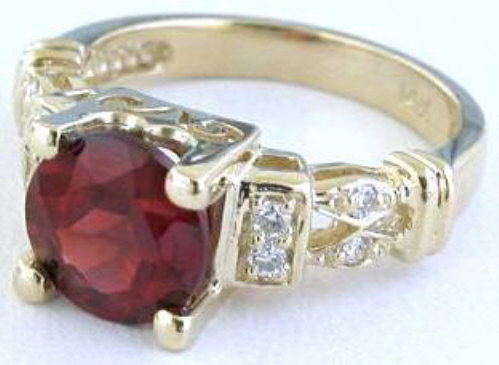garnet wedding ring set garnet rings in 14k yellow gold with accents mjs 4448