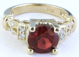 Round Garnet Rings in 14k Yellow Gold