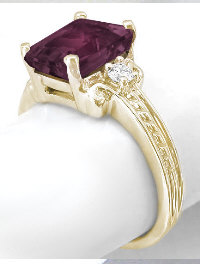 Rhodolite Garnet Three Stone Ring in 14k Yellow Gold