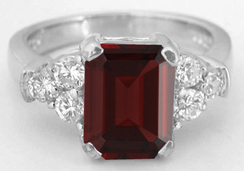 Emerald Cut Red Garnet And Diamond Engagement Ring In 14k