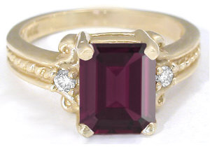 Large Rhodolite Garnet Three Stone Engagement Ring with Rope Design in solid 14k yellow gold for sale