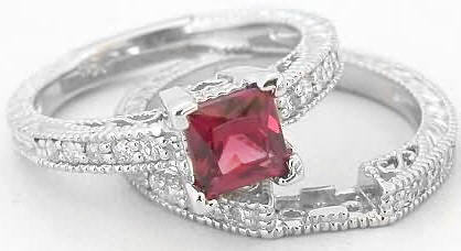 antique rhodolite diamond engagement ring and wedding band - Garnet Wedding Ring