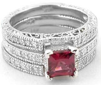 rhodolite engagement ring with 2 wedding bands