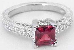 Princess Cut Rhodolite Garnet Ring