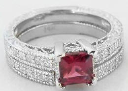 Vintage Rhodolite Diamond Engagement Rings with Matching Wedding Band