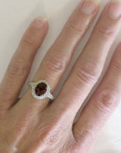 Garnet and Diamond Halo Rings in 14k White Gold