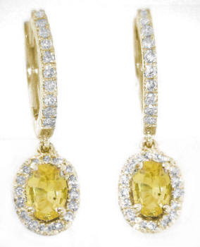 1.71 ctw Oval Yellow Sapphire and Diamond Halo Earrings in 14k yellow gold