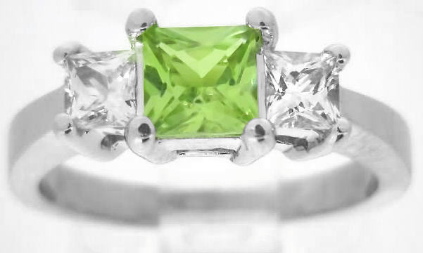 Princess Cut Peridot And White Sapphire Engagement Ring