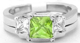 Peridot Engagement Ring with Contoured Wedding Band