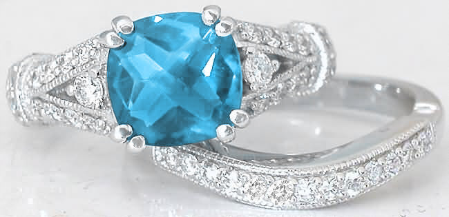 Swiss Blue Topaz Engagement Rings