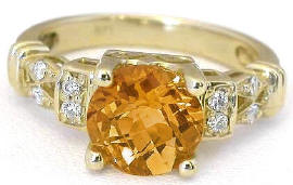 Checkerboard Faceted Citrine Rings