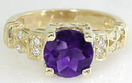 Amethyst Diamond Engagement Ring in 14k