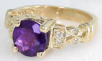 8mm Round Amethyst Engagement Ring
