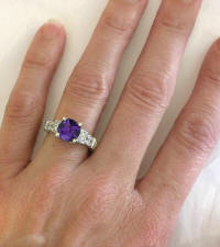 Amethyst Diamond Rings in 14k white gold