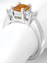 3 Stone Citrine Engagement Rings