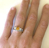 Princess Cut Citrine Engagement Ring and Matching Wedding Band
