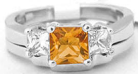 Princess Cut Citrine Engagement Ring and Wedding Band