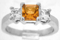 Princess Cut Citrine Gemstone Engagement Rings