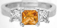 Three Stone Princess Cut Citrine Engagement Rings