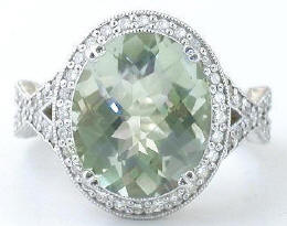 Checkerboard Faceted Green Amethyst Diamond Engagement Ring