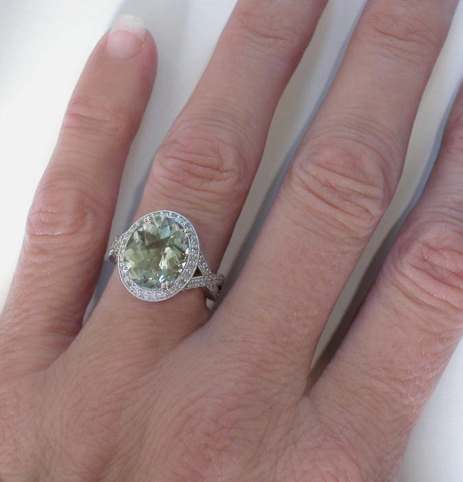 Vintage Green Amethyst Diamond Engagement Ring With Hand. Ten Rings. Villanova Rings. Japanese Wedding Rings. Royalty Free Wedding Rings