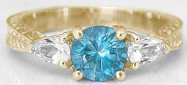 Swiss Blue Topaz Three Stone Rings in 14k Gold