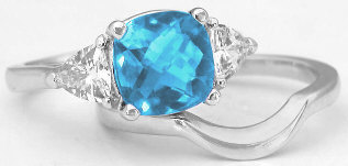 Blue Topaz Cushion and White Sapphire Engagement Rings