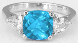 8mm Cushion Blue Topaz Ring