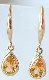 Pear Citrine Dangle Gemstone Earrings in 14k Yellow Gold